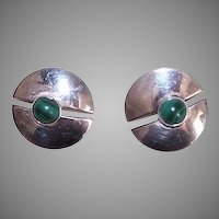 Vintage Sterling Silver Malachite Earrings
