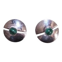 Vintage Sterling Silver Round Disc Earrings with Center Malachite Cab
