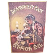 Absolutely Safe Eupion Oil - Mother, Child & Dog Graphics - Victorian Trade Card