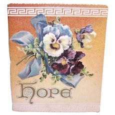 Antique Edwardian Ernist Nister London Booklet with Poems & Proverbs - Hope - High Color Pansies Cover