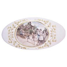 Antique French Paper Baptism Gift Box Family Chistening Image