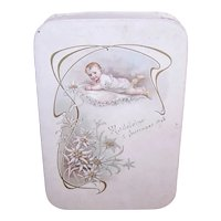 Antique Edawrdian French Cream Paper Baptism Candy Box - Beautiful Baby with Edelweiss - Madeleine