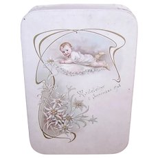Antique Edwardian French Candy Box - Souvenir of Baptism | Beautiful Baby with Edelweiss - Madeleine