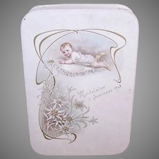 Antique French Cream Paper Baptism Gift Box - Beautiful Baby with Edelweiss