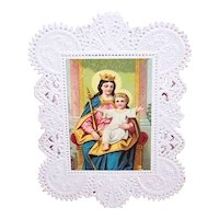 Victorian Paper Lace Religious Card Prayer Card - Madonna & Child Chromolithograph