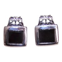 Sterling Silver Black Onyx Pierced Earrings - Modernist Design