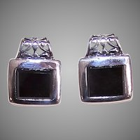 Vintage Sterling Silver Black Onyx Earrings