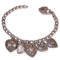 Sterling Silver Puffy Heart Charm Bracelet with Heart Lock Clasp