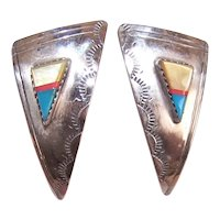 Native American Sterling Silver Stone Inlay Earrings Pierced Earrings Navajo Design