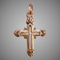 Vintage 14K Yellow Gold Cross Pendant Charm