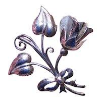 Sterling Silver Pin Brooch - Large Bunch of Flowers - Floral Spray - Big & Bold Retro Modern Brooch