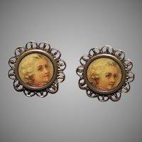 Antique French Gilt Metal Celluloid Louis XIV Button