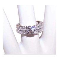 GIA 14K Gold 1.33CT TW Engagement Ring w/Matching 14K Gold  .83CT TW Diamond Wedding Band
