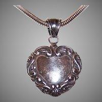 Edwardian Revival Sterling Silver Pendant - Repousse Heart