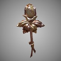 Sterling Silver Pin Yellow Gold Wash Long Stemmed Rose