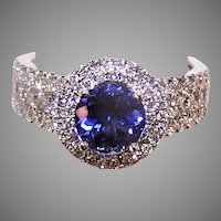 Vintage 14K Gold Tanzanite Diamond Cocktail Ring