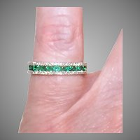 Vintage 14K Gold Emerald Diamond Eternity Ring Wedding Band