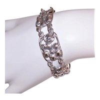 Vintage Sterling Silver Floral Link Bracelet