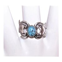 Beau Sterling Silver Wraparound Ring with Turquoise Center and Side Hearts
