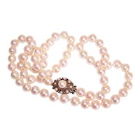 "24"" Single Strand 7.5mm x 8mm  Cultured Pearl Necklace with Edwardian 14K Gold Pearl Clasp"