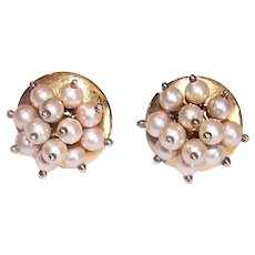 Fraboso Italy 800 Silver Vermeil Cultured Pearl Earrings