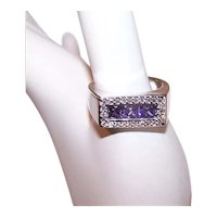Sterling Silver Purple/Clear Cubic Zirconia CZ Fashion Ring