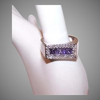 Vintage Sterling Silver CZ Fashion Ring