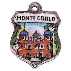 Vintage 800 Silver Enamel Travel Shield Charm Monte Carlo