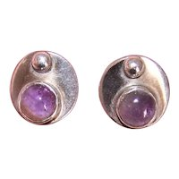 Retro Modern Sterling Silver Amethyst Earrings