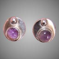 Retro Modern Sterling Silver Amethyst Earrings