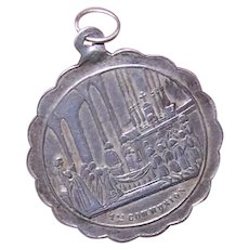 Unused Antique French Silver First Communion Medal