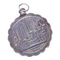Unused Antique French Silver Napoleon III First Communion Medal - No Monogram or Date