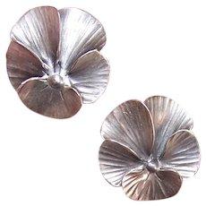 Pair of Stuart Nye Sterling Silver Pins Pansies