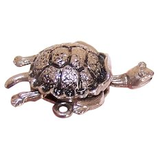 1960s MONET Silver Tone Metal Charm - Mechanical Turtle
