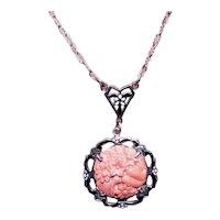 German Art Deco Sterling Silver Enamel Faux Coral Necklace