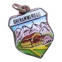 Vintage European 800 Silver Enamel Travel Shield Charm - Oberammergau
