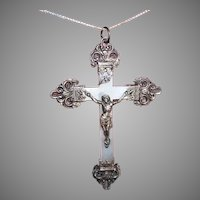 Antique Edwardian French 800/900 Silver Mother of Pearl Rosary Crucifix