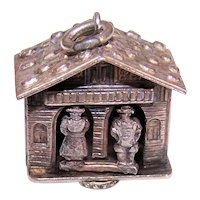 European 800/900 Silver charm - Mechanical Man/Wife in Chalet