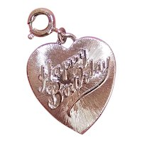 1960s MONET Silver Tone Metal Charm - Happy Birthday Heart