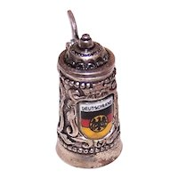 800 Silver Enamel Mechanical Tankard Beer Stein Deutschland