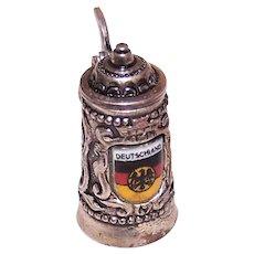 800 Silver Enamel Mechanical Tankard Beer Stein Deutschland