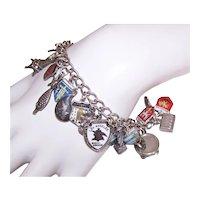 Sterling Silver Enamel Travel Shield Charm Souvenir Charm Bracelet