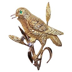 Estate 18K Gold Diamond Emerald Bird Pin
