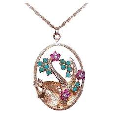 Estate 14K Gold Diamond Ruby Turquoise Lovebirds Charm