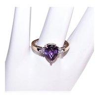 10K Gold 2.03CT TW Purple Topaz Diamond Cocktail Ring