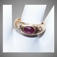 Vintage 14K Gold Cab Ruby Diamond Band