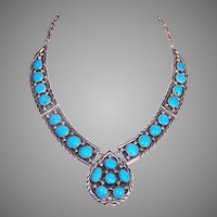 James Shay Sterling Silver Turquoise Hinged Necklace