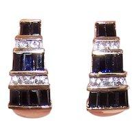 Estate 14K Gold 2.70CT TW White Blue Sapphire J Hoop Earrings