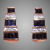 Estate 14K Gold 2.70CT TW White Blue Sapphire J Hoop Earrings