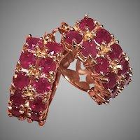 Estate 14K Gold 1.44CT TW Ruby Hoop Earrings Pierced Earrings